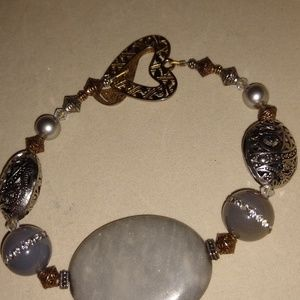 Grey stone with Crystal accents toggle bracelet